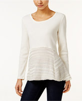 Style&Co. Style & Co. Petite Waffle-Knit Mixed-Media Top, Only at Macy's