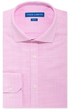 Vince Camuto Men's Slim-Fit Stretch Pink Unsolid Solid Dress Shirt