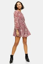 Topshop Womens Petite Pink Animal Print Mesh Mini Dress - Pink