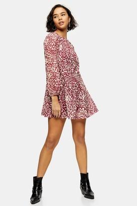 Topshop Womens Petite Pink Animal Print Mesh Mini Dress - Pink