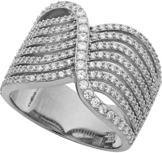 Crislu Intertwine Platinum Over Silver Cz Ring