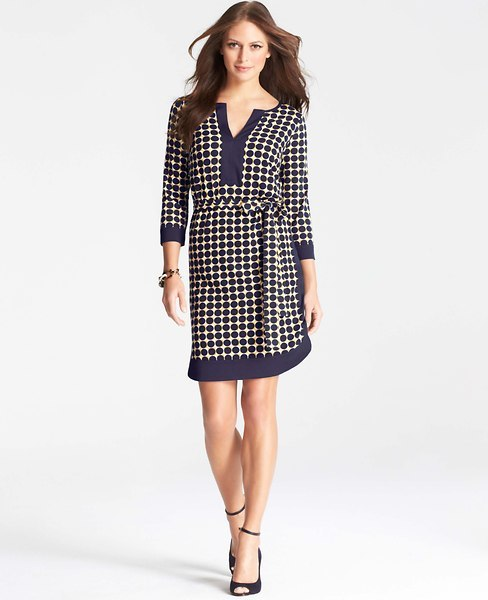 Ann Taylor Tall Blocked Dot Print Shirtdress