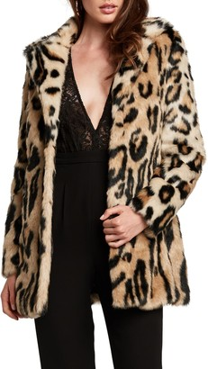 Bardot Animal Leopard Faux Fur Coat