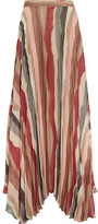 Alice + Olivia Shannon Asymmetric Pleated Printed Georgette Maxi Skirt - Red