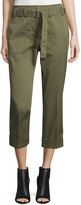 3.1 Phillip Lim Cropped Belted Utility Pants, Olive