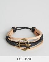 Reclaimed Vintage Leather Anchor Bracelet