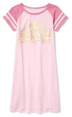 Children's Place The The short sleeve raglan 'princess' crown graphic pajama nightgown (little girls & big girls)