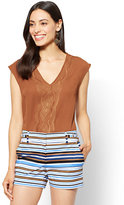 New York & Co. 7th Avenue - Embroidered V-Neck Blouse