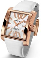 TW Steel Goliath CE3016 Sandblasted PVD Rose Gold / White Leather 37mm Mens Watch