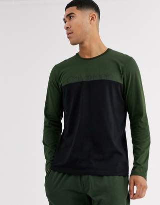 Calvin Klein Modern Cotton Stretch colour block long sleeve logo t-shirt in khaki-Green
