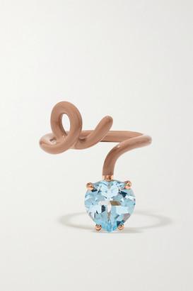 BEA BONGIASCA Heart Tendril 9-karat Rose Gold, Enamel And Topaz Ring - 18