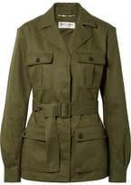 Saint Laurent Cotton And Ramie-blend Gabardine Jacket - Army green
