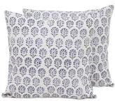 Pair of Floral Cotton Cushion Covers in Ivory and Stone, 'Stone Garden'
