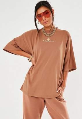 Missguided Camel Drop Shoulder Oversized T Shirt