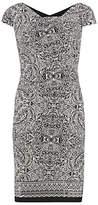 Gina Bacconi Aztec Border Print Stretch Jersey Dress, Black/White