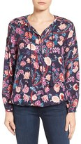 Lucky Brand Women's Tassel Tie Floral Print Blouse