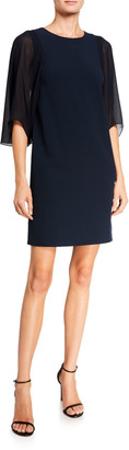 Halston Blouson Sleeve Stretch Crepe Shift Dress