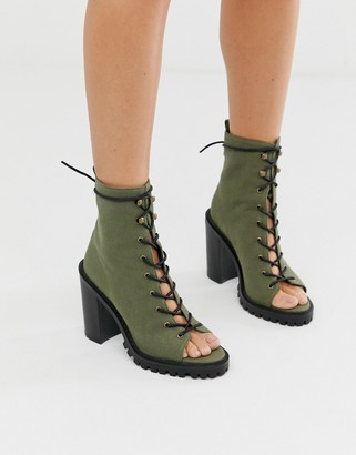 Asos Design DESIGN Emma peep toe chunky lace up boots in khaki-Green