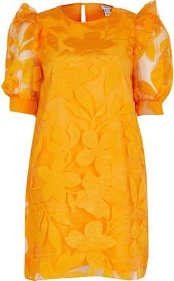 River Island Womens Orange Floral Organza Ss Dress