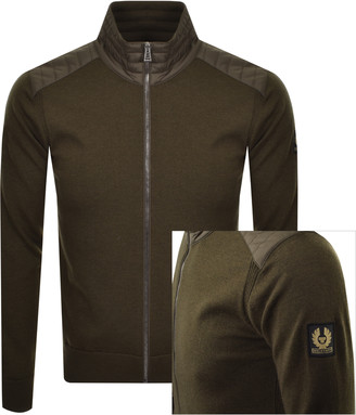 Belstaff Kelby Full Zip Knit Jumper Khaki