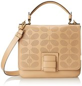 Orla Kiely Sixties Stem Punched Leather Ivy Shoulder Handbag