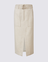 M&S Collection Cotton Blend Belted Pencil Midi Skirt