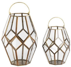 Nkuku Small Brass Glass Mohani Lantern - glass | brass - Brass