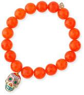 Sydney Evan 10mm Beaded Orange Agate Bracelet with Sugar Skull Charm