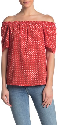 WEST KEI Geo Print Smocked Off-the-Shoulder Blouse