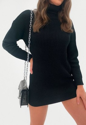Missguided Petite Black Turtle Neck Knit Sweater Dress