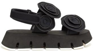 Marni Floral-applique Neoprene Flatform Sandals - Womens - Black
