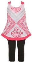 Mini Moca Little Girls Motif Pattern A-Line Top 2 Pc Legging Set 4