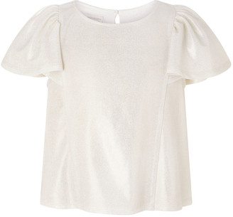 Monsoon Shimmery Frilled T-shirt Gold