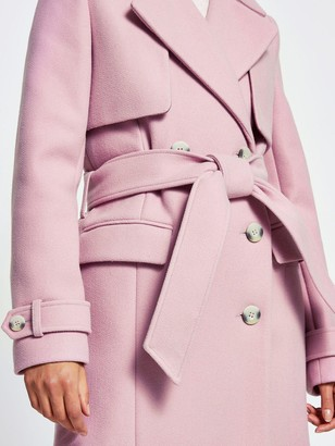 River Island Wool Touch Trench Coat - Lilac