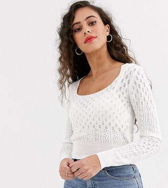 Miss Selfridge Petite jumper in white