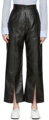 Materiel Tbilisi Black Faux-Leather Slit Trousers