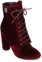 Catherine Malandrino Burgundy Veeanca Velvet Lace-Up Booties