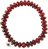 Sydney Evan Jewelry 8mm Faceted Garnet Beaded Bracelet with 14k White Gold/Diamond Small Evil Eye Charm (Made to Order)