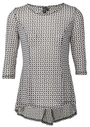 Dorothy Perkins Womens Izabel London Grey Geometric Print Peplum Top, Grey