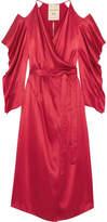 Roland Mouret Serena Cold-shoulder Silk-satin Wrap Dress - Red