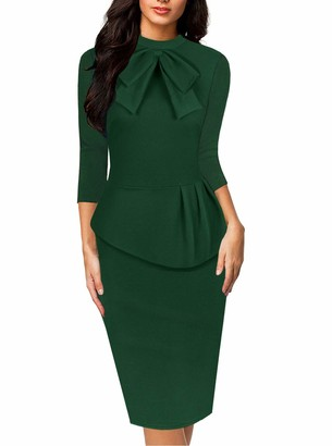 Moyabo Women's 3/4 Sleeves Tea Length Office Work Solid Color Pencil Professional Office Dress Green XX-Large