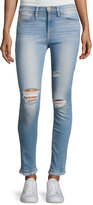 Frame Le High Skinny Double Raw-Edge Jeans, Blue