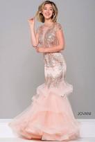 Jovani Short Sleeve Embellished Mermaid Dress 47928