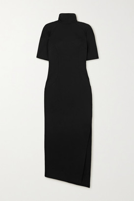 ATTICO Eva Jersey Turtleneck Midi Dress - Black