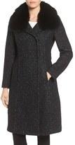 Elie Tahari Women's Genuine Raccoon Fur Collar Coat