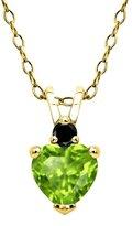 Gem Stone King 0.53 Ct Green Peridot Black Diamond 18K Yellow Gold Plated Silver Pendant