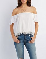 Charlotte Russe Off-The-Shoulder Crochet-Trim Top