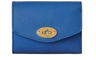 Mulberry Darley Folded Multi-Card Wallet Porcelain Blue Heavy Grain
