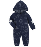 Andy & Evan Allover Space Print Hooded Coverall, Size 3-24 Months