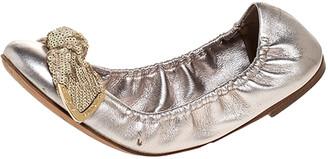 Louis Vuitton Metallic Leather Amulet Sequins Bow Scrunch Ballet Flats Size 37